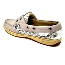 Sperry Top Sider Boat Shoes Women's Size 8 M Silver Sequin Bahama Pewter Gray