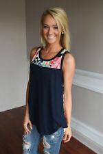 Fashion Womens Sleeveless Floral Vest T-shirt Ladies Summer Tank Tops Blouse Navy UK Size 16