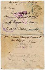 PRISONER of WAR CENSOR 1917 MARSEILLES + TRIANGULAR In MAUVE