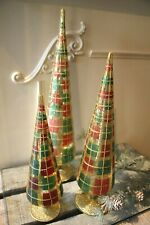 Katherine´s Collection Weihnachtsbäume 3-er Set aus Glas Rot Grün Gold 46cm NEU