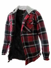 Men's Plaid Flannel Red Jacket with Hood Midweight 100% Cotton Winter Coat
