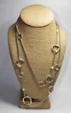 """NEW $975 Authentic David Yurman Infinity Sterling Silver 44"""" Necklace w/pearls"""