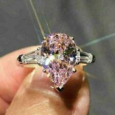 14K White Gold Over 4CT Pear Shape Pink Sapphire 3 Stone Engagement Wedding Ring