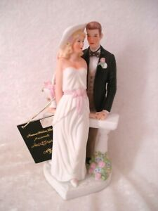 Porcelain HEART STRINGS by N Wilton, Bride & Groom Figurine, Wedding Cake Topper