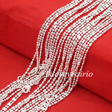 """Wholesale Lots 1.4mm Bar & Bead Link Chain 925 Sterling Silver Necklace 16""""-30"""""""