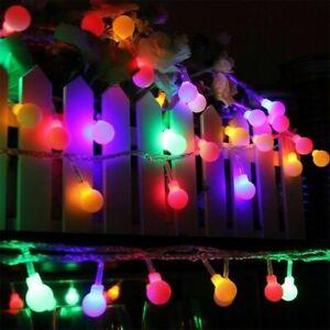 200LED 20M Globe Bulb Ball Fairy String Lights Mains Plug in Garden Outdoor Xmas