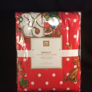 NEW~Pottery Barn Teen~Christmas Grinch Red FLANNEL TWIN DUVET COVER White Dots