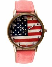 American Flag Wrist Watch Analogue Leather Strap Vintage USA America Pink Orange