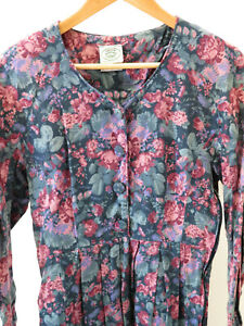 Vintage - Laura Ashley - Dress long sleeves - Roses - Cotton & Wool - Size 8 10