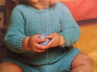 """Knitting Pattern Baby Girl Boy Jumper and Trouser Set 4 Ply 18-21"""" Chest Vintage"""