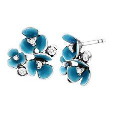 Van Kempen Art Deco Flower Stud Earrings w Swarovski Crystals in Sterling Silver