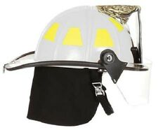 "FIRE-DEX 1910 Traditional Style Fire Helmet with 4"" Visor, White, Carved Eagle"