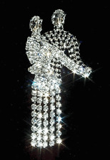 ``DANCING COUPLE Rhinestone Brooch/Pin-Movable Dance dress-Silver plated- 2 1/2""