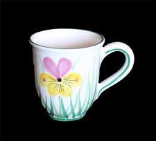 Starbucks Barista Large 2003 Yellow Pink Flower Heavy Chunky Mug Italy NWOT