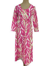 Vintage Ca. 1970s Sears Hawaiian Fashions Women's Dress Hot Pink Tropical MuuMuu
