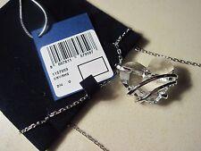 Swarovski Swan Signed Silver Tone Necklace CRY RHA Heart Shaped Crystal NIB