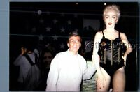 FOUND COLOR PHOTO J_0783 MAN POSED WITH MADONNA STATUE IN MUSEUM