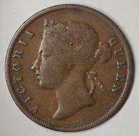 STRAITS SETTLEMENT BRITISH  1 Cent 1901 QUEEN VICTORIA OLD VINTAGE COIN (LB32)
