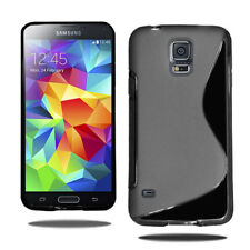 S Line Wave Gel Case Soft Phone Cover For Samsung Galaxy S5 i9600 & Film Screen