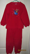 Baby Toddler 4T Okie Dokie Red Fleece Outfit Sleigh Riding Reindeer Shirt Pants