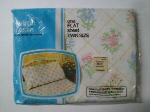 Vintage JC Penney Flat Sheet Twin Size No Iron Muslin Floral Flowers - New NOS