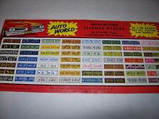 Original Vintage 1961 Auto World 1:25 Scale License Plate Decals