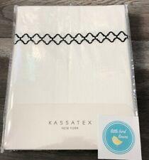 Kassatex Shower Curtain 70 x 72 100% Cotton Tivoli White- Black trim Brand New