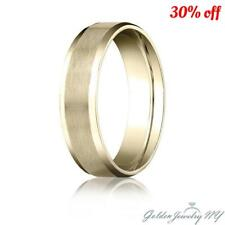 Mens Womens Solid 14K Yellow Gold Satin/High Polish Beveled Edge Wedding Band.