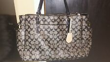 Coach Peyton Signature Multifunction Diaper Baby Tote Bag F25741 Black and gray