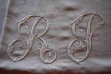 Drap 33 ancien en fil de lin monogrammé blanc RP 230 x 315 cm jour  broderie