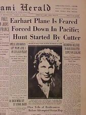 VINTAGE NEWSPAPER HEADLINE~AMELIA EARHART AIRPLANE FLIGHT DOWN LOST PLANE CRASH