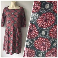 White Stuff  size 8 red and blue grey floral patterned Short tunic dress Pockets
