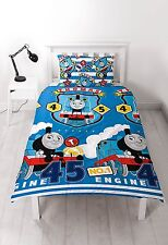 SINGLE BED DUVET COVER SET THOMAS THE TANK ENGINE PATCH TRAIN BLUE STEAM KIDS