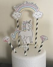 Unicorn Happy Birthday Cake Topper And Co-ordinating Decorations