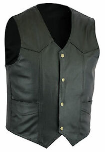Mens Geniune Classic Black Real leather waistcoat Motorcycle Vest Biker Style