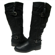 New Women's Riding Boots Black Shoes Winter Snow Fur Lined Ladies size 8.5