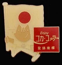 Mascot Cobi with flag ~Olympic Pin Badge~Japan~1992 Barcelona~Sponsor Coca-Cola