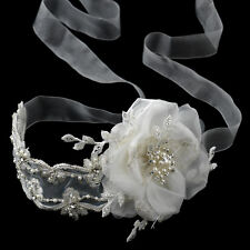 Ivory Pearl Rhinestone Ribbon Lace Rose Wedding Headband or Bridal Belt