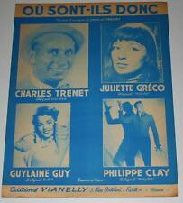 Partition vintage sheet music CHARLES TRENET JULIETTE GRECO PHILIPPE  CLAY