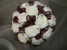 burgandy and ivory rose handtied wedding / bridal / bridesmaid bouquet