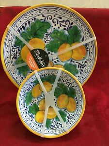 8 Pcs Set Melamine 4 Salad Bowl 4  Dinner Plate Yellow Lemon Mulino New NWT