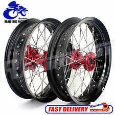 "For Honda CRF250 CRF450 CR 125 250 FRONT REAR 17"" SUPERMOTO WHEELS RIMS RED HUB"