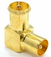 90 Deg. Right Angle RF TV Aerial Coaxial Male Plug To Female Socket Gold Adapter