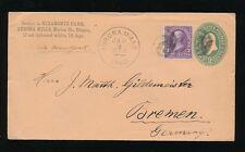 USA OREGON 1895 UPRATED STATIONERY to GERMANY...AURORA MILLS MIRAMONTE FARM