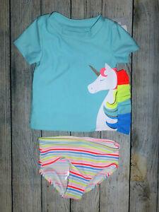 NWT Carters Baby Girls Unicorn Dinosaur Rashguard Bikini Swimsuit 9 Months