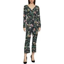 BCBG Max Azria Womens Floral Faux Wrap Straight Leg Jumpsuit BHFO 7107