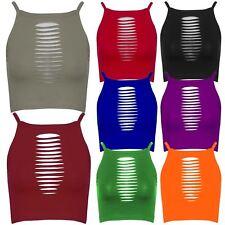 New Womens Plain Front Laser Cut Pattern High Neck Crop Tops 8-14