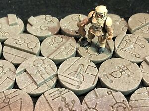 25mm Space Tech Bases, scenic resin, Qty 10-50 available, unpainted sci-fi