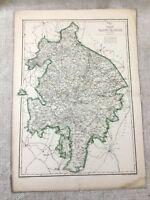 1857 Antique Map Warwickshire Warwick County England 19th Century Hand Coloured