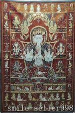 "36"" Tibet Silk Embroidery Art Buddhism Tangka 6 arm Green Tara Kwan-yin Statue"